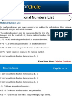 Rational Numbers List