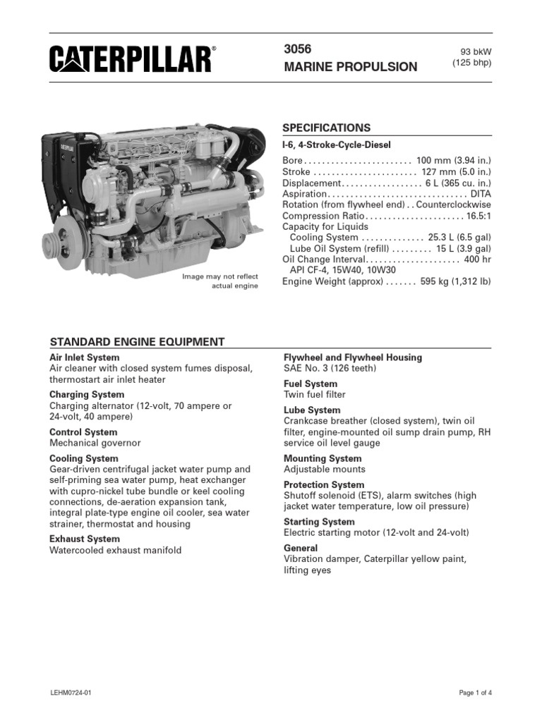 Cat 3056 Propulsion 138bkw Spec Sheets | Engines | Turbocharger