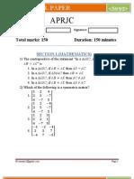 APRJC-2012 Question paper