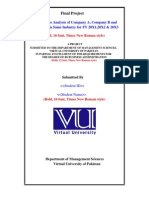 Fina Project Format for Market Ratio Analysis Company ABC