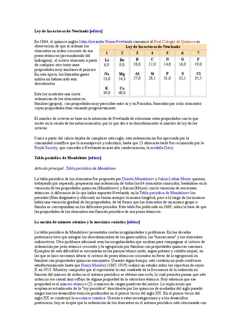 ley de las octavas de newlands - Tabla Periodica Newlands