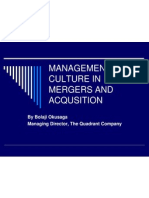 Management of Culture in Mergers and Acqusition