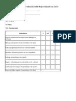 Pauta de evaluación del trabajo realizado en clases