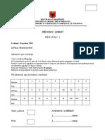 Provimi i Lirimit Testi Mate Ma Tike 2010