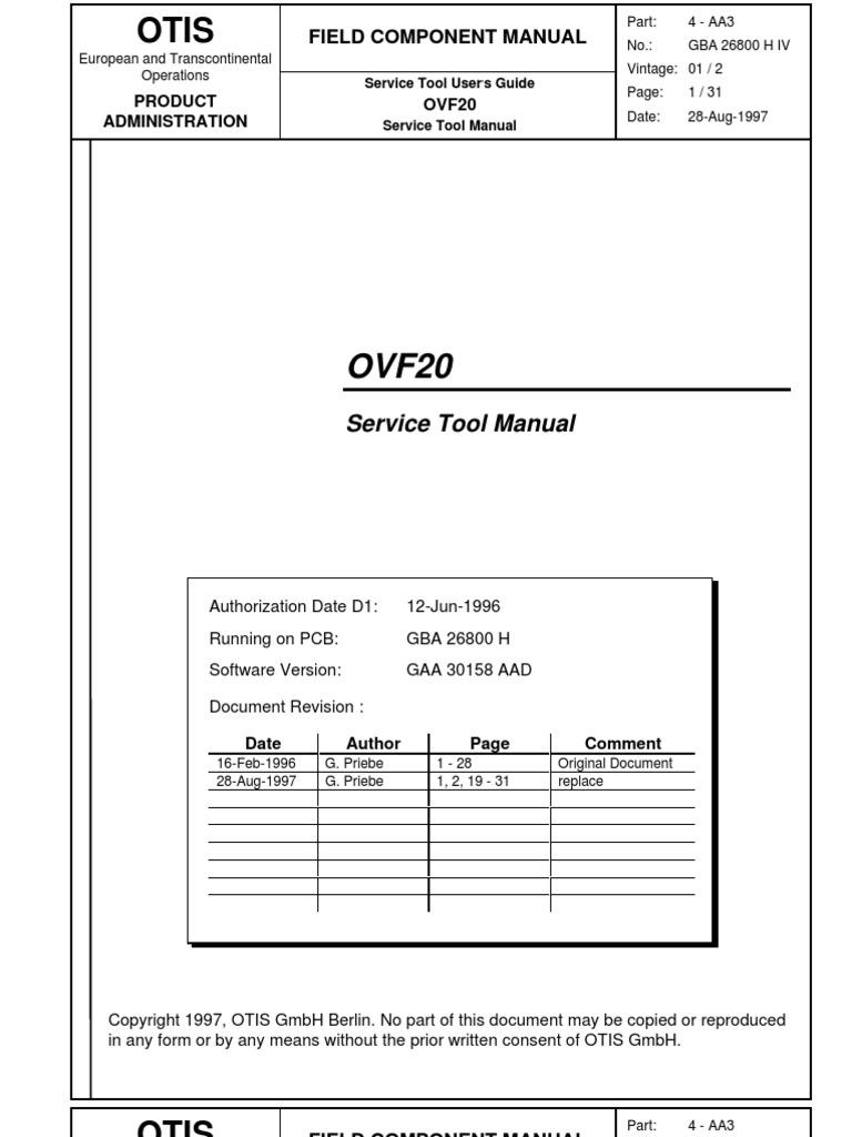 gba 26800 h iv ovf 20 service tool power inverter power supply rh scribd com otis elevator owners manual otis elevator owners manual