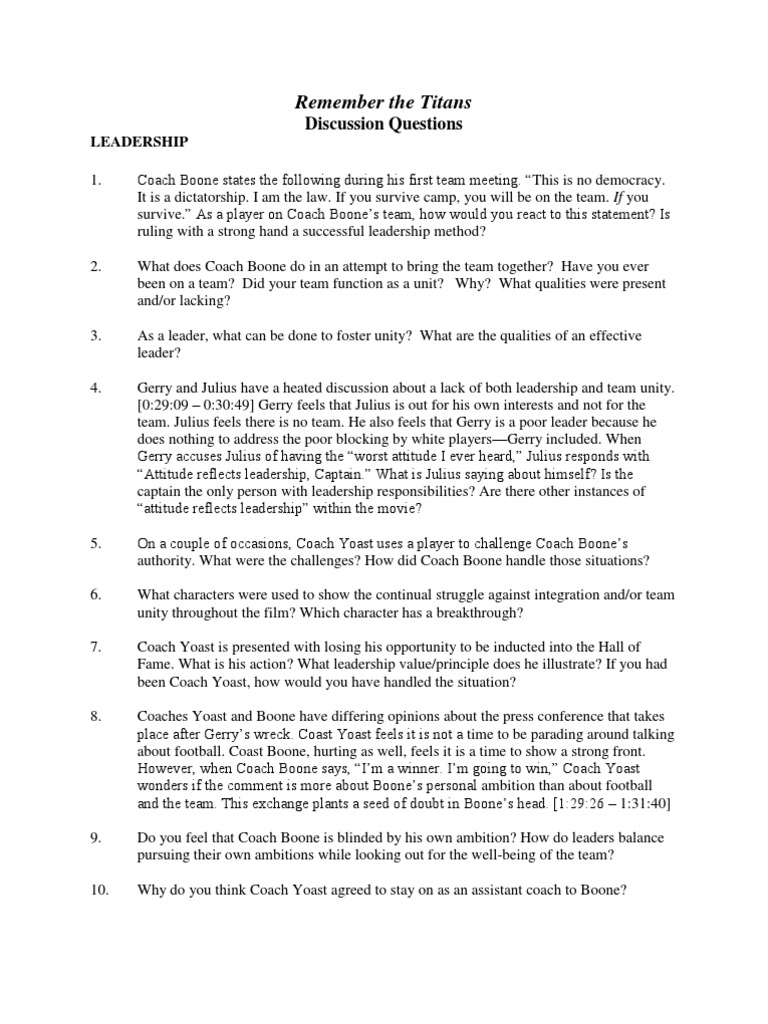 Remember The Titans Discussion Guide Leadership Leadership
