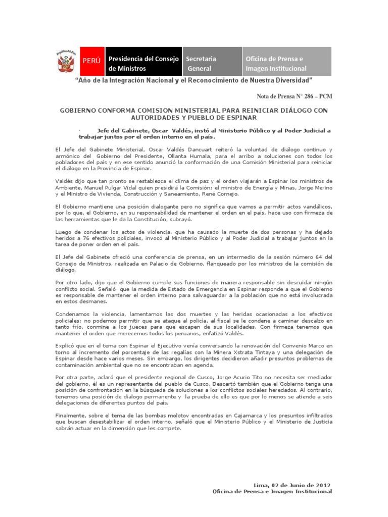 Gobierno espera reanudar diálogo con pueblo de Espinar