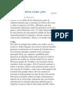 Diferencia de La Santeria en Cuba y Africa