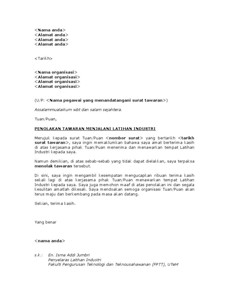 surat penolakan tawaran