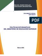 POLÍTICAS ESTUDIANTILES DEL MINISTERIO DE EDUCACION SUPERIOR