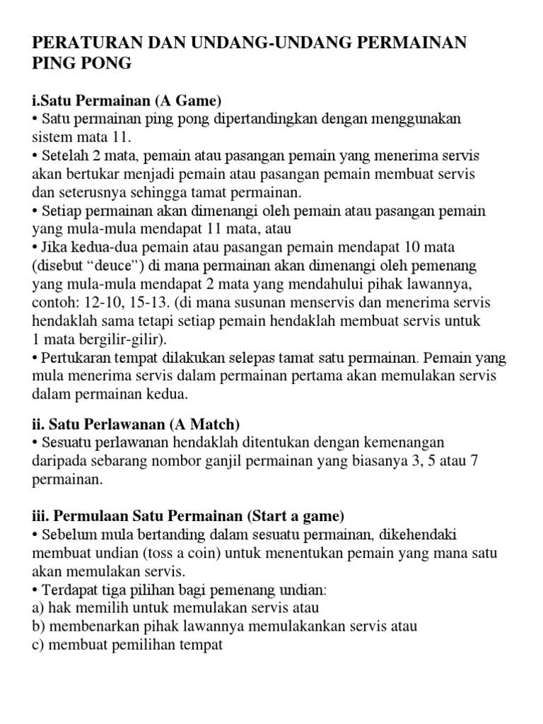 Peraturan Dan Undang2 Ping Pong