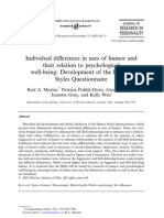Individual Differences in Uses of Humor and Their Relation to Psychological Being- Development of the Humor Styles Questionnaire