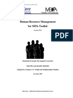 Human Resource Management for MFIs Toolkit