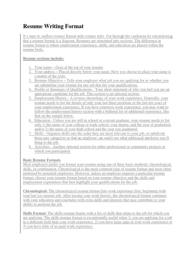 Resume Writing Format.docx | Résumé | Computing