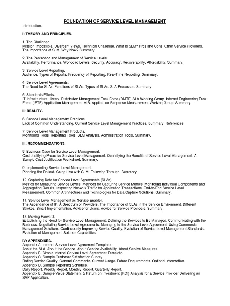 Contents Foundations Of Service Level Management Service Level