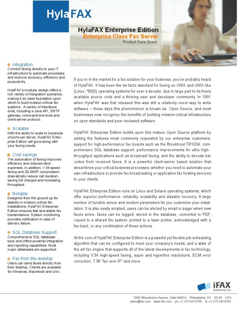 HylaFAX EE Datasheet | Fax | Operating System