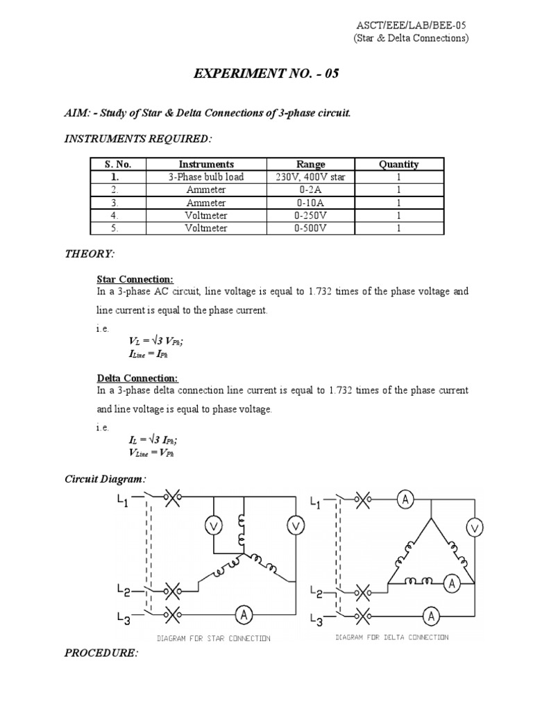 Experiment 5 Star Delta 3 Phase Circuit Diagram