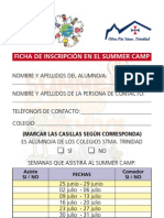 Ficha de Inscripción Summer Camp School 2012