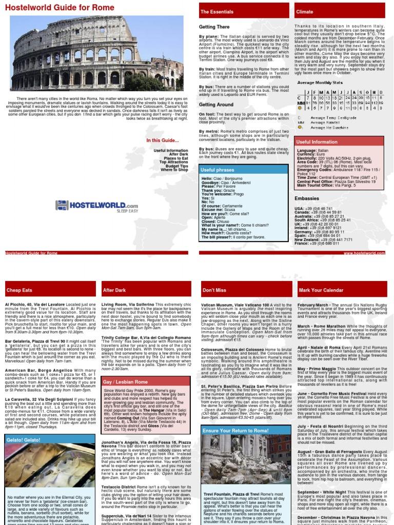 Hostel World PDF Guide Rome