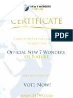 Official New 7 Wonders of Nature Voting Certificate