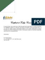 Certificado de Trabajo rio