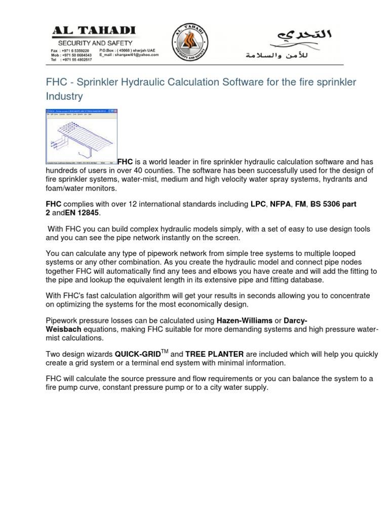 Fhc Sprinkler Software Fire Sprinkler System Mechanical Engineering Essai Gratuit De 30 Jours Scribd