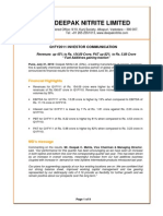 Deepak Nitrite Q1FY2011 Investor Communication