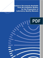 Guidance Documents Available From Accreditation Bodies for the Preparation of Laboratory Quality