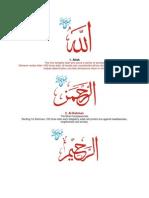 99 Beautiful Names of ALLAH & Fazilat