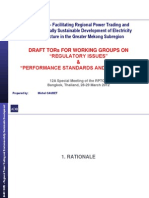 """GMS RETA 6440 - Draft TORs for Working Groups on """"Regulatory Issues"""" and """"Performance Standards and Grid Code"""""""