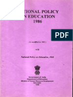 India National Education Policy 1986 Modified 1992