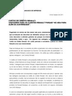 Comunicado de Imprensa | Cartão de crédito Renault