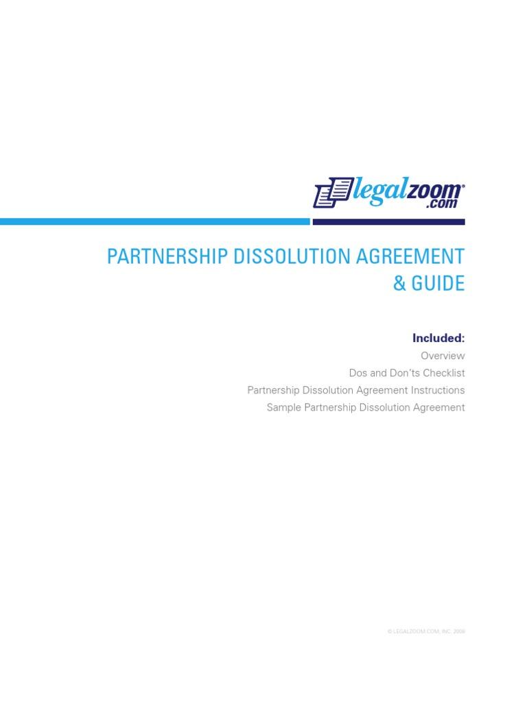 Legalzoom Partnership Dissolution Agreement Partnership