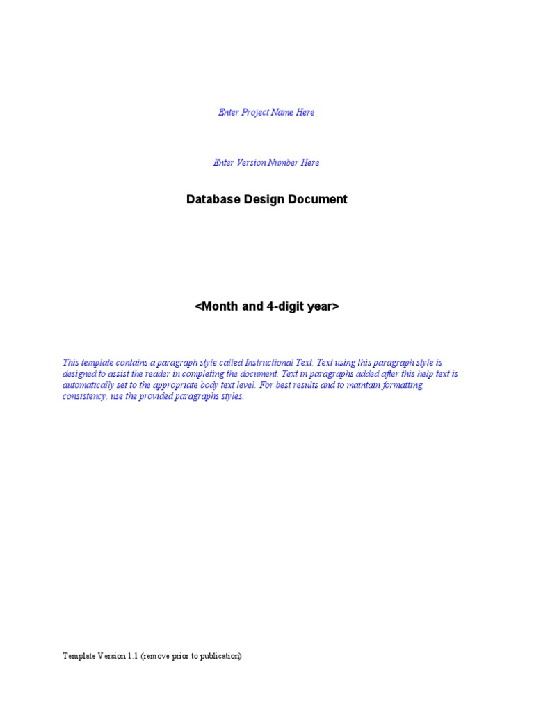 Database design document template application for Database documentation template