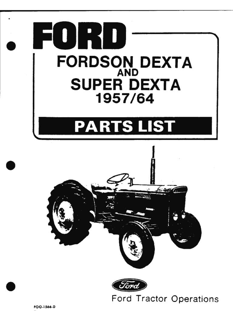 Parts List Fordson Dexta 57 64 Ford 8n Diagram