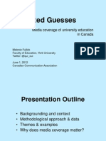 Universities and the Media in Canada [CCA 2012]