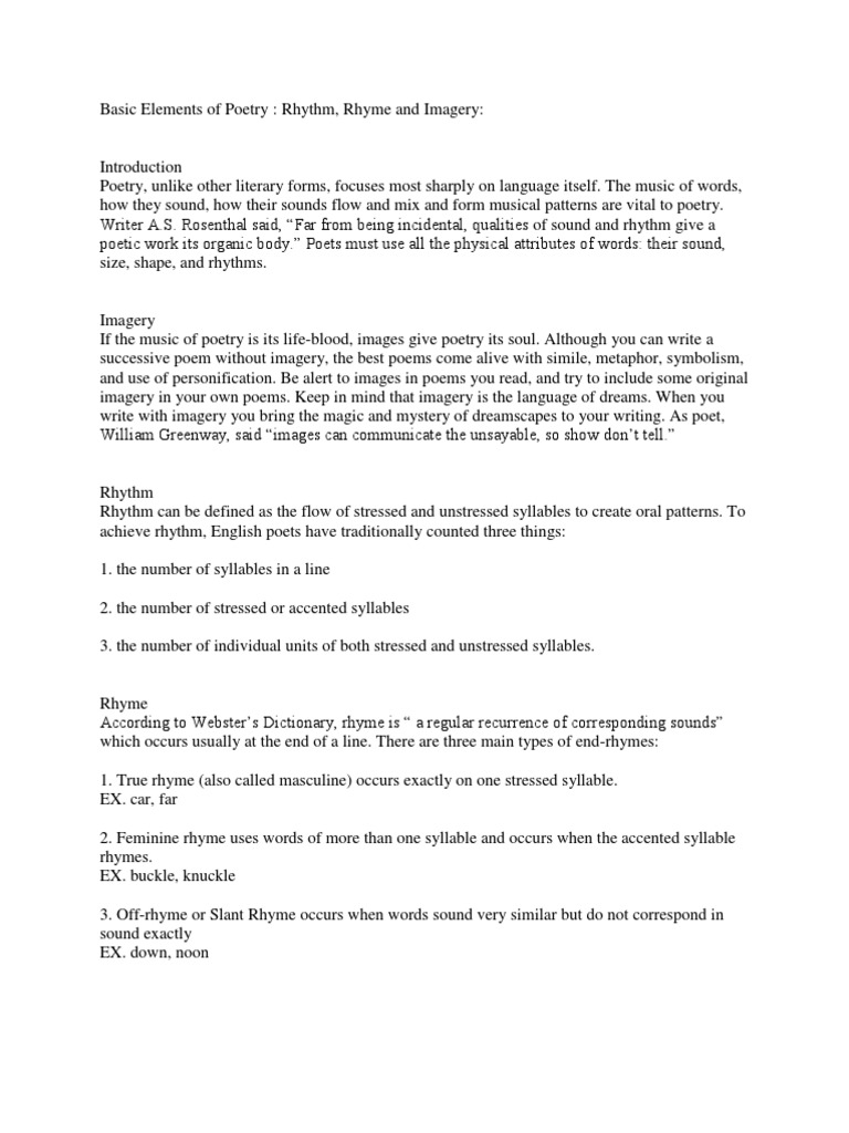 Workbooks stressed and unstressed syllables worksheets : Basic Elements of Poetry | Rhyme | Poetry