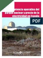 Potencia operativa del parque nuclear y precio de la electricidad en España