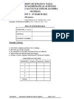 Advanced Calculus & Linear Algebra Ukzn 2012 Test 1