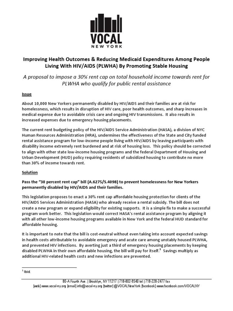 30% rent cap AIDS housing bill fact sheet May 2012