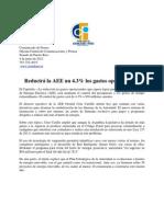 Reducirá la AEE un 4.3% los gastos operacionales