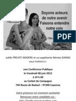 Joëlle PREVOT-MADERE et sa suppléante Néméa DAMAS vous invitent à Conférence Publique le Vendredi 08 juin 2012