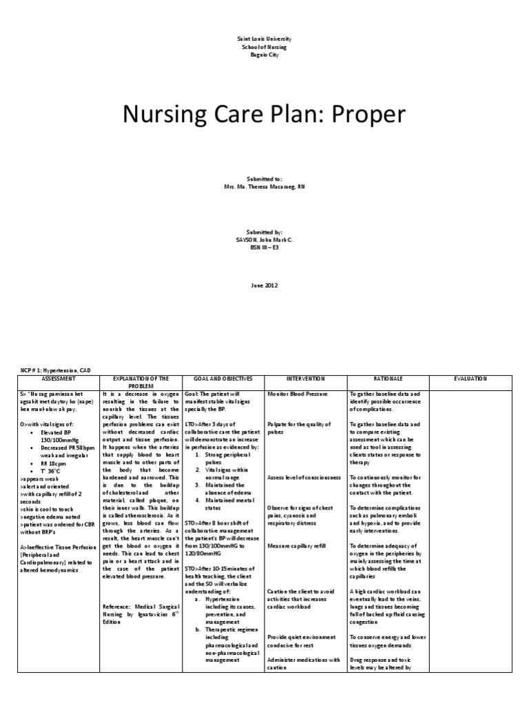 nursing care plan for cad