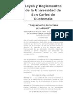 Reglamento de tasa estudiantil,   Universidad de San Carlos de Guatemala