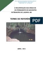 PROJETO DE RECUPERAÇÃO DAS ÁREAS DE PRESERVAÇÃO PERMANENTE DE NASCENTES do MUNICÍPIO  LADÁRIO