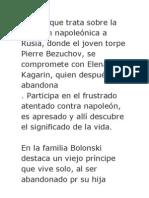 Novela que trata sobre la invasión napoleónica a Rusia