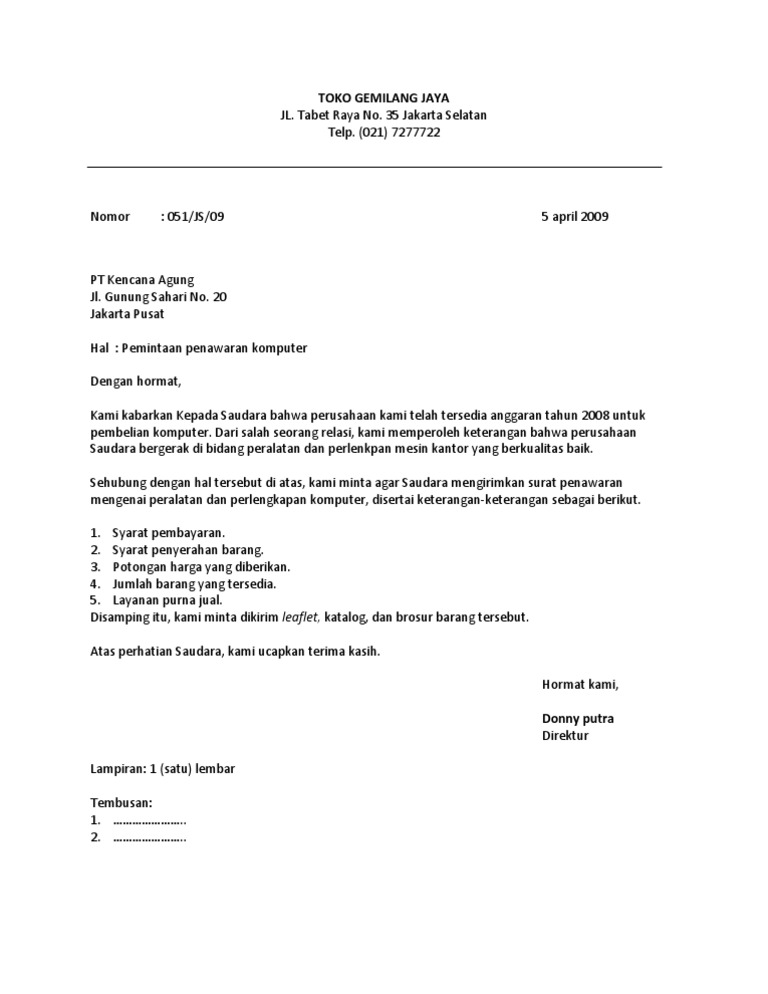 Surat Resmi Format Lurus Penuh