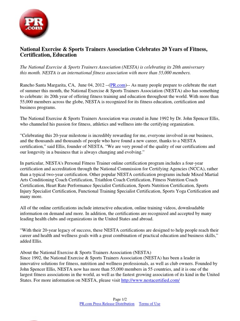 National Exercise Sports Trainers Association Celebrates 20 Years