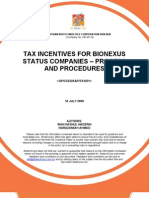 Tax Incentives for BioNexus Status Companies Process and Procedures