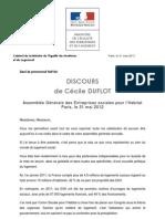 Discours de Cécile Duflot - AG des Entreprises Sociales pour l'Habitat - 20120531